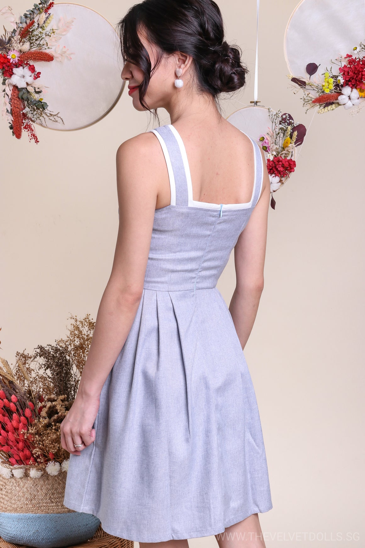 Poetic Trimming Dress in Blue