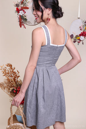 Poetic Trimming Dress in Grey