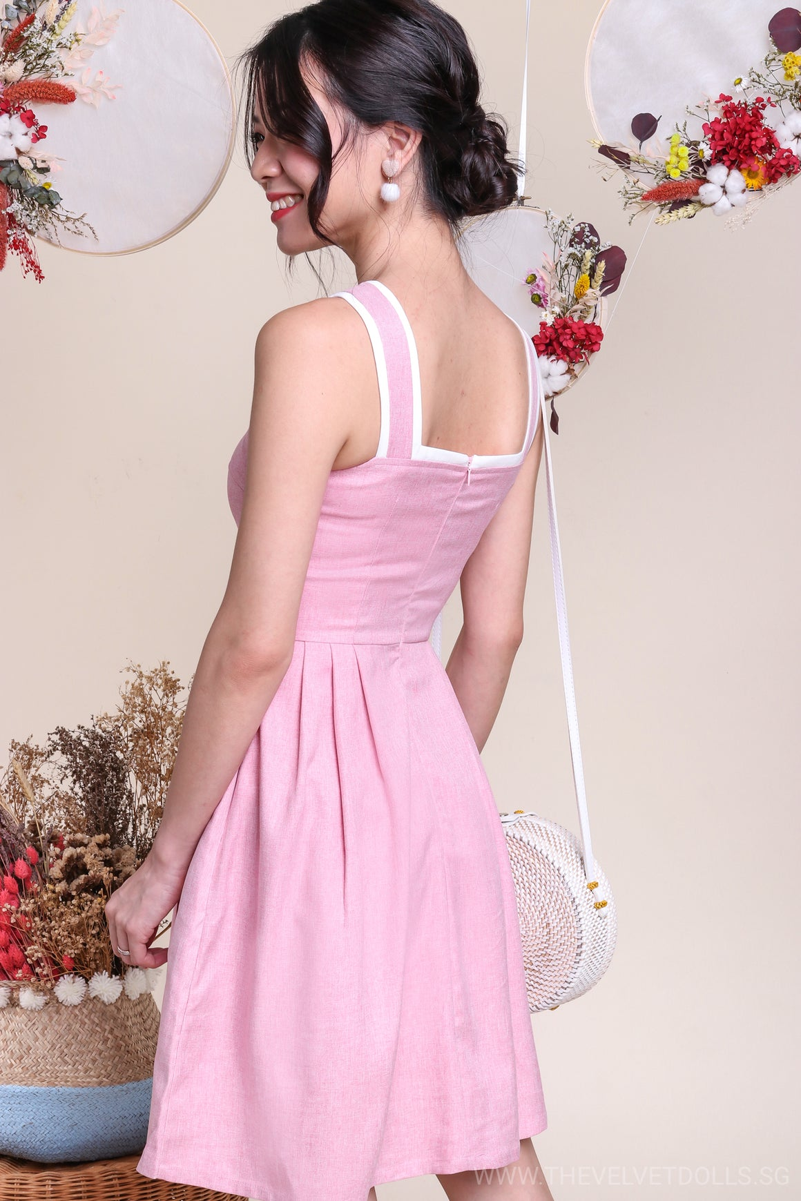 Poetic Trimming Dress in Pink