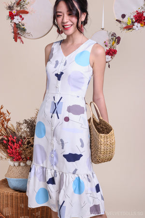 Shapes Button Midi Dress in White