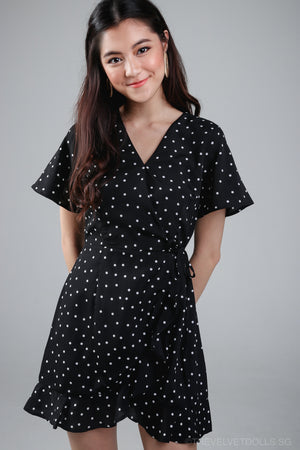 Althea Playsuit Dress in Black Polkadot