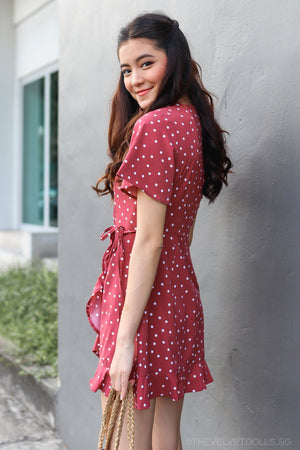 Althea Playsuit Dress in Rose Polkadot
