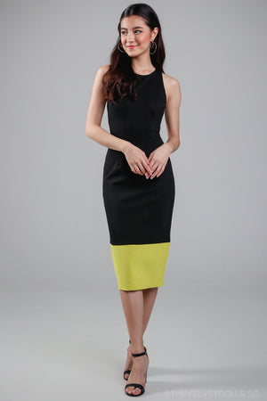 Restocked* Jenner Colorblock Bodycon Dress in Black Lime