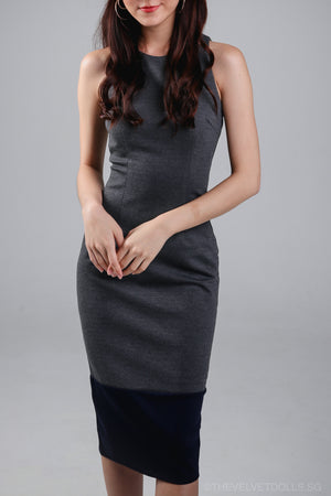 Restocked* Jenner Colorblock Bodycon Dress in Grey Navy