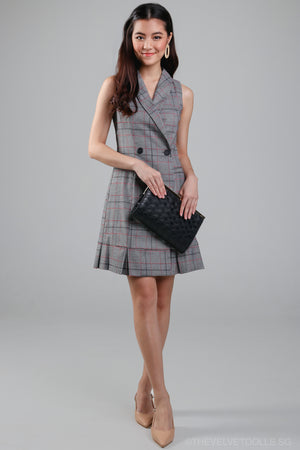 Amily Tux Vest Dress in Gingham