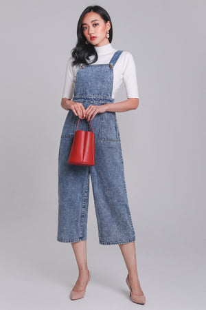 Restocked* Delaney Denim Dungarees in Acid Wash