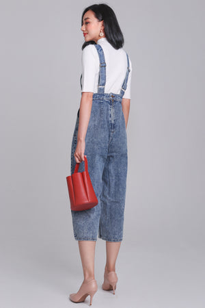 Delaney Denim Dungarees in Acid Wash