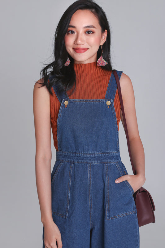 Restocked* Delaney Denim Dungarees in Dark Wash