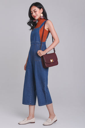 Delaney Denim Dungarees in Dark Wash