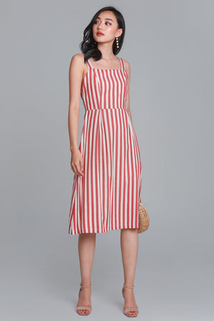 Drew Linen Striped Dress in Red