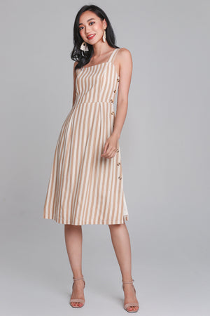 Drew Linen Striped Dress in Sand