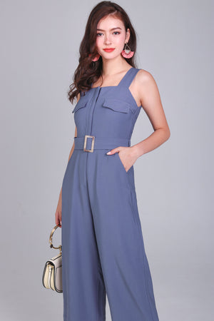 Doubly Blessed Pocket Jumpsuit in Periwinkle Blue