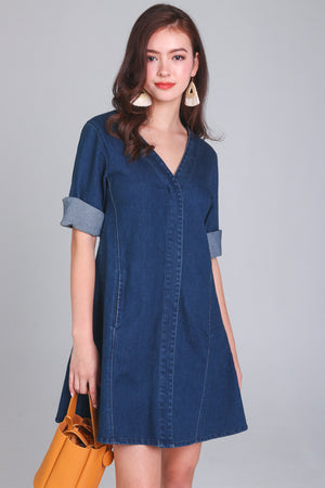Alicia Denim Sleeve Dress in Dark