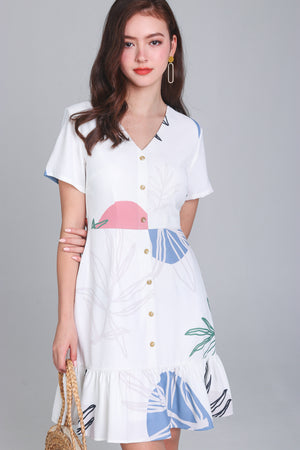 Fern & Circle Shirt Dress in Pink Blue