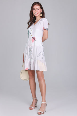 Fern & Circle Shirt Dress in Sage Nude