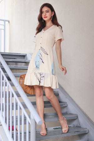Fern & Circle Shirt Dress in Daffodil Sky
