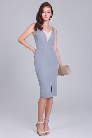 Beverlyn Knot Strap Dress in Ash Blue