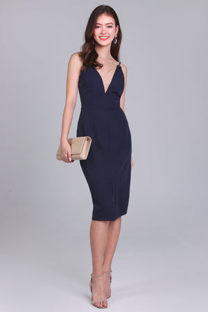 Beverlyn Knot Strap Dress in Navy