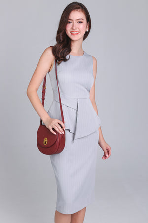 Cameron Pinstriped Peplum Dress in Grey