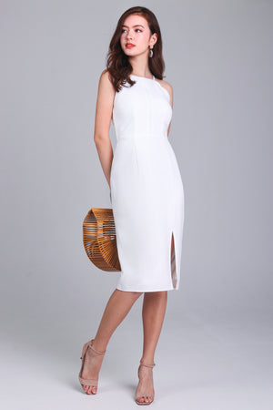 Hera Scallop Hem Dress in White