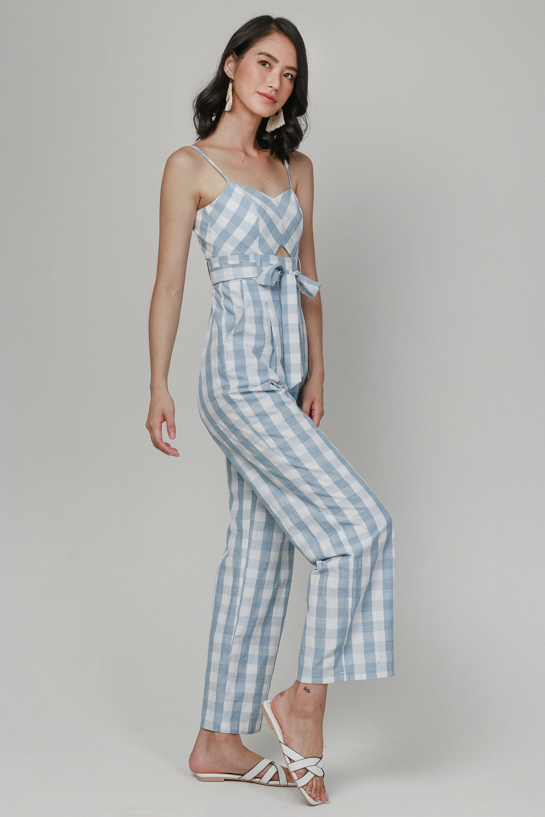 Backorder* Meridith Gingham Jumpsuit in Baby Blue