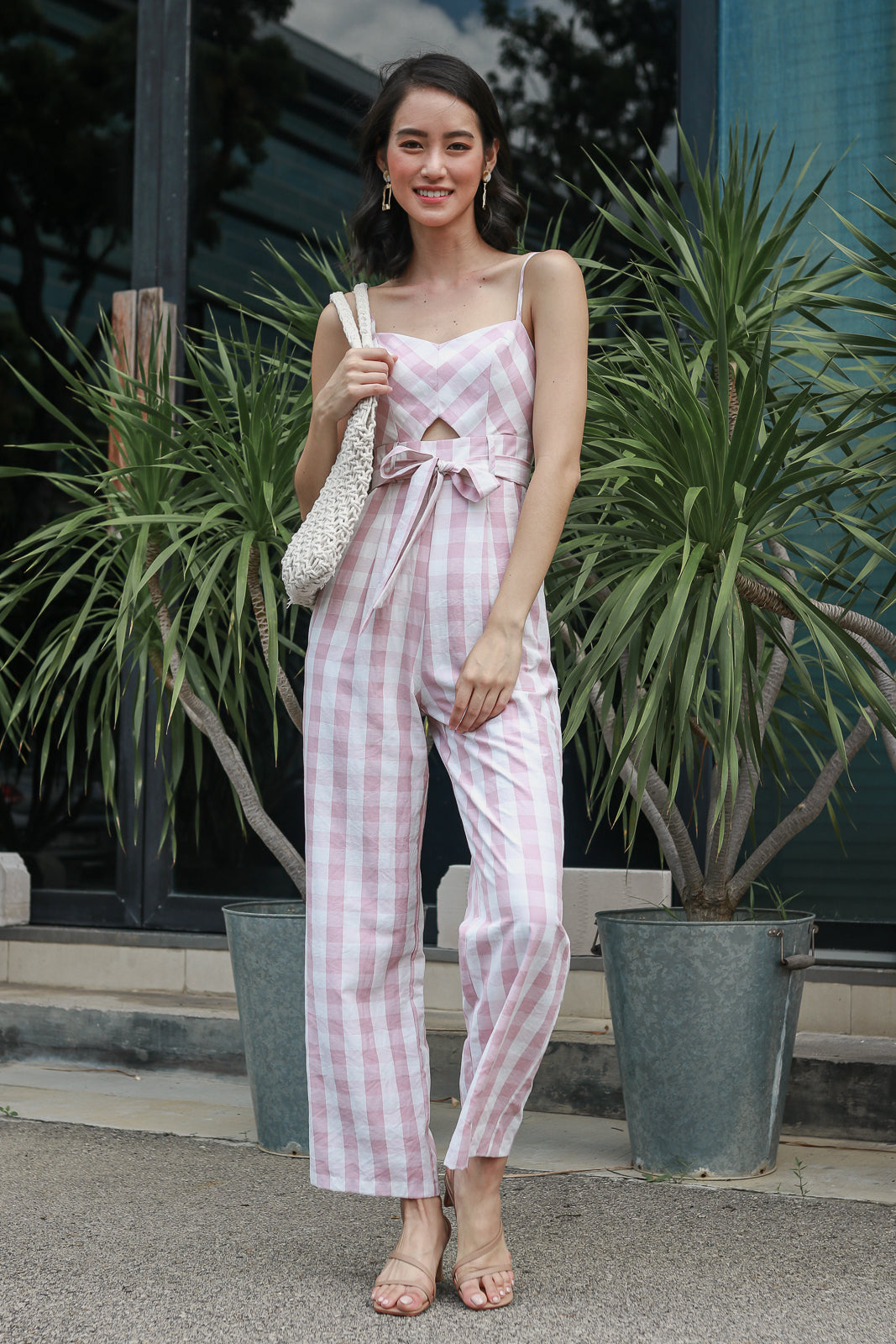 Meridith Gingham Jumpsuit in Blush Pink