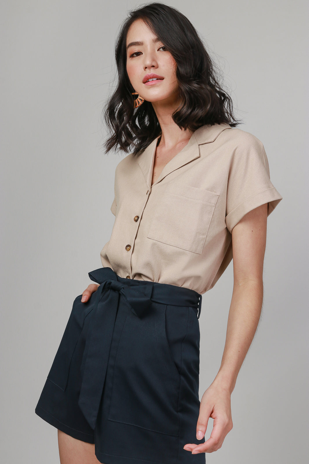 Mia Linen Button Shirt in Khaki