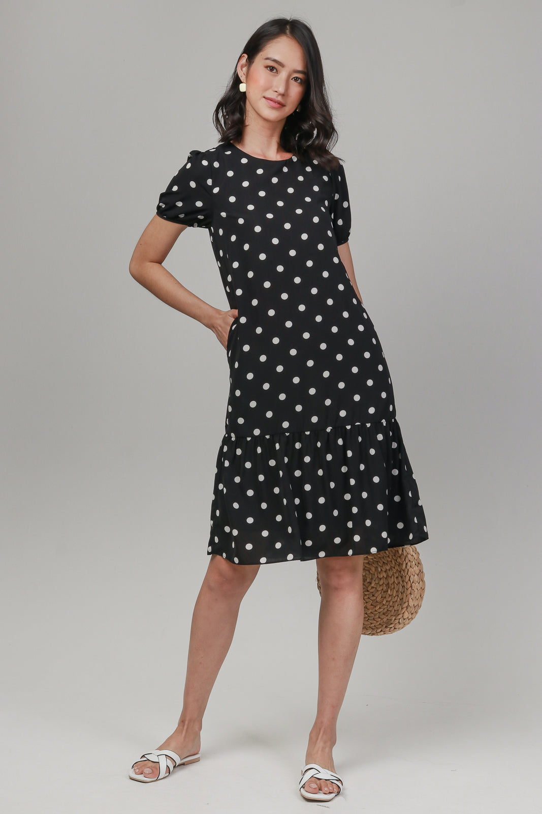Polkadots Sleeved Drophem Dress in Black