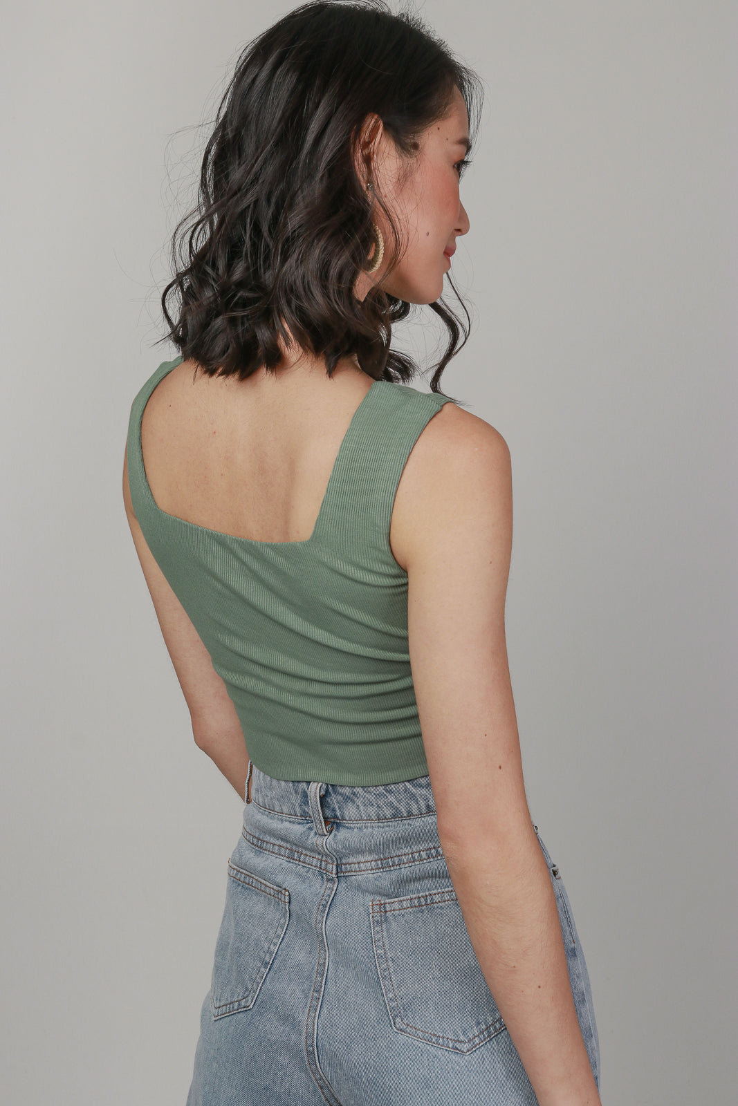 Ribbed Square Neck Cropped Top in Olive