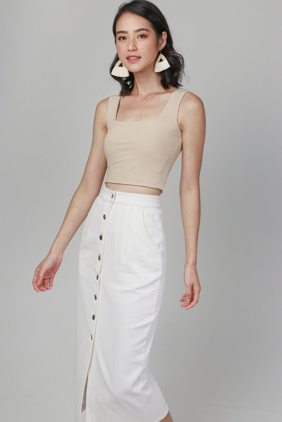 Ribbed Square Neck Cropped Top in Sand