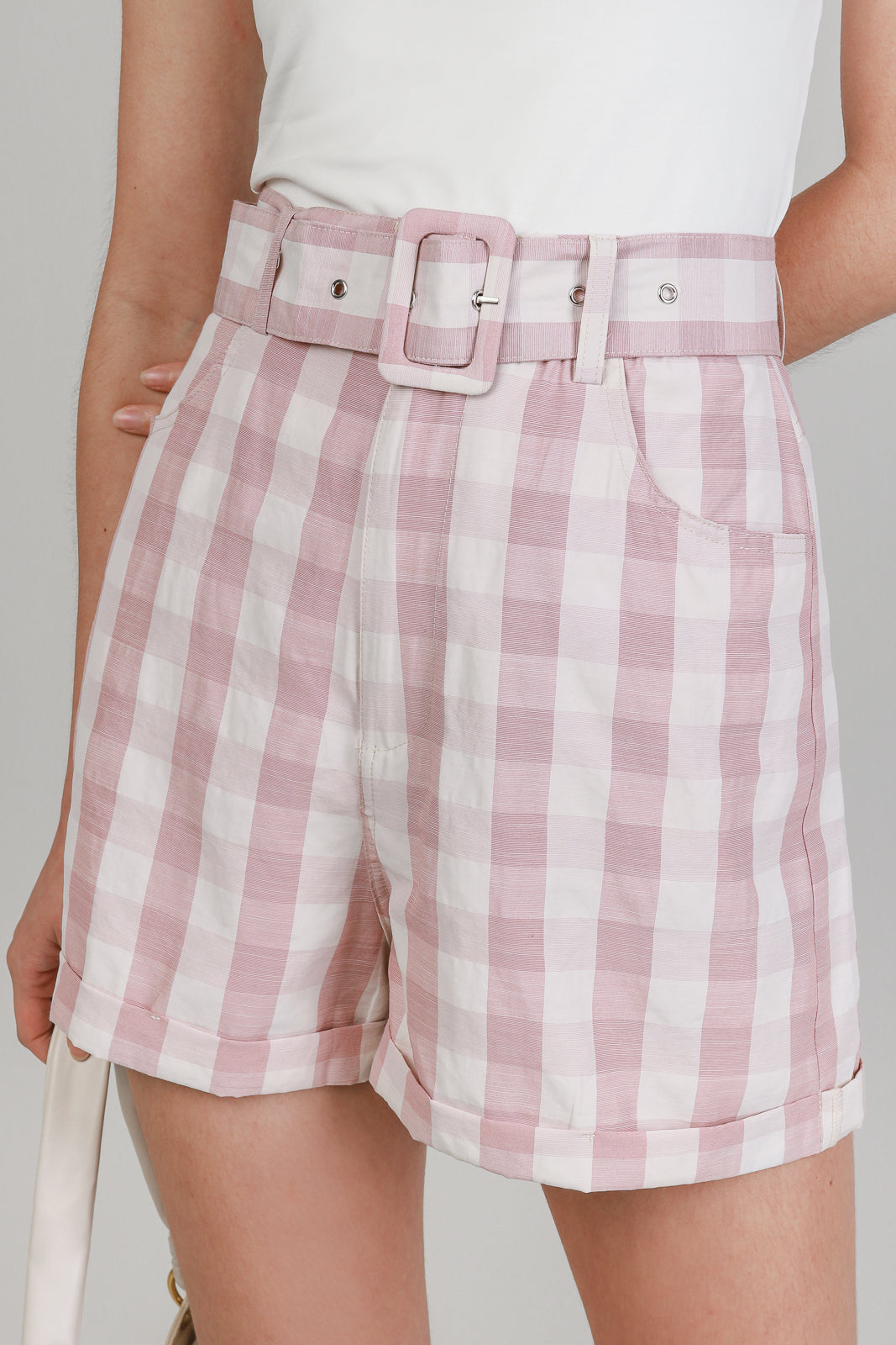 Belted Gingham Shorts in Baby Pink