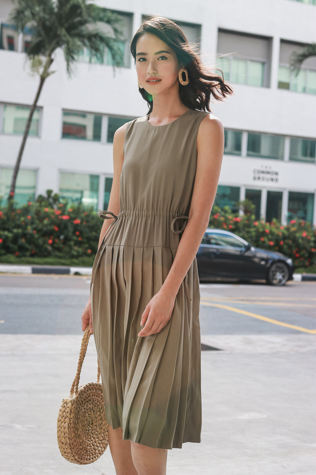 Yokohama Drawstring Pleat Dress in Olive
