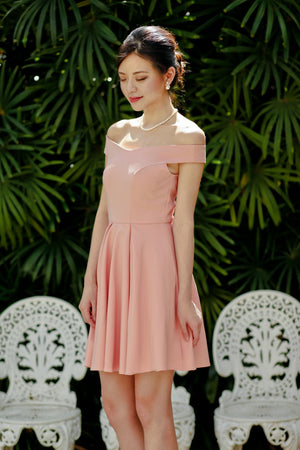 Restocked* Arianna Off-Shoulder Dress in Blush Pink
