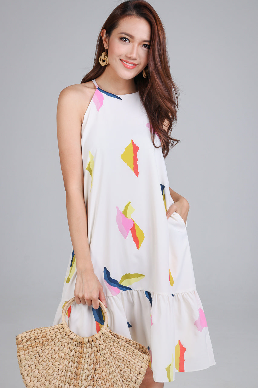 Restocked* Abstract Cubism Dropwaist Dress in Cream