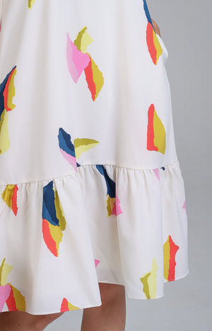 Abstract Cubism Dropwaist Dress in Cream