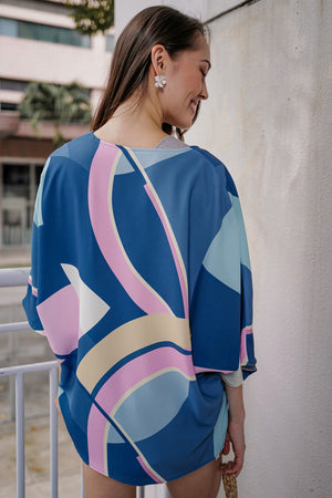 Misha Abstract Kimono Jacket in Blue (Reversible)