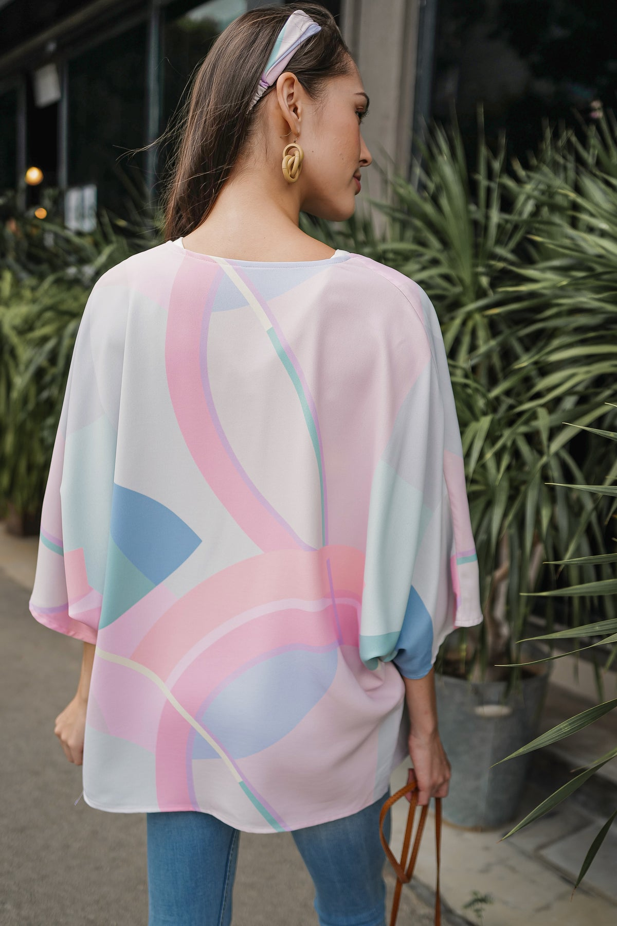 Misha Abstract Kimono Jacket in Mint (Reversible)