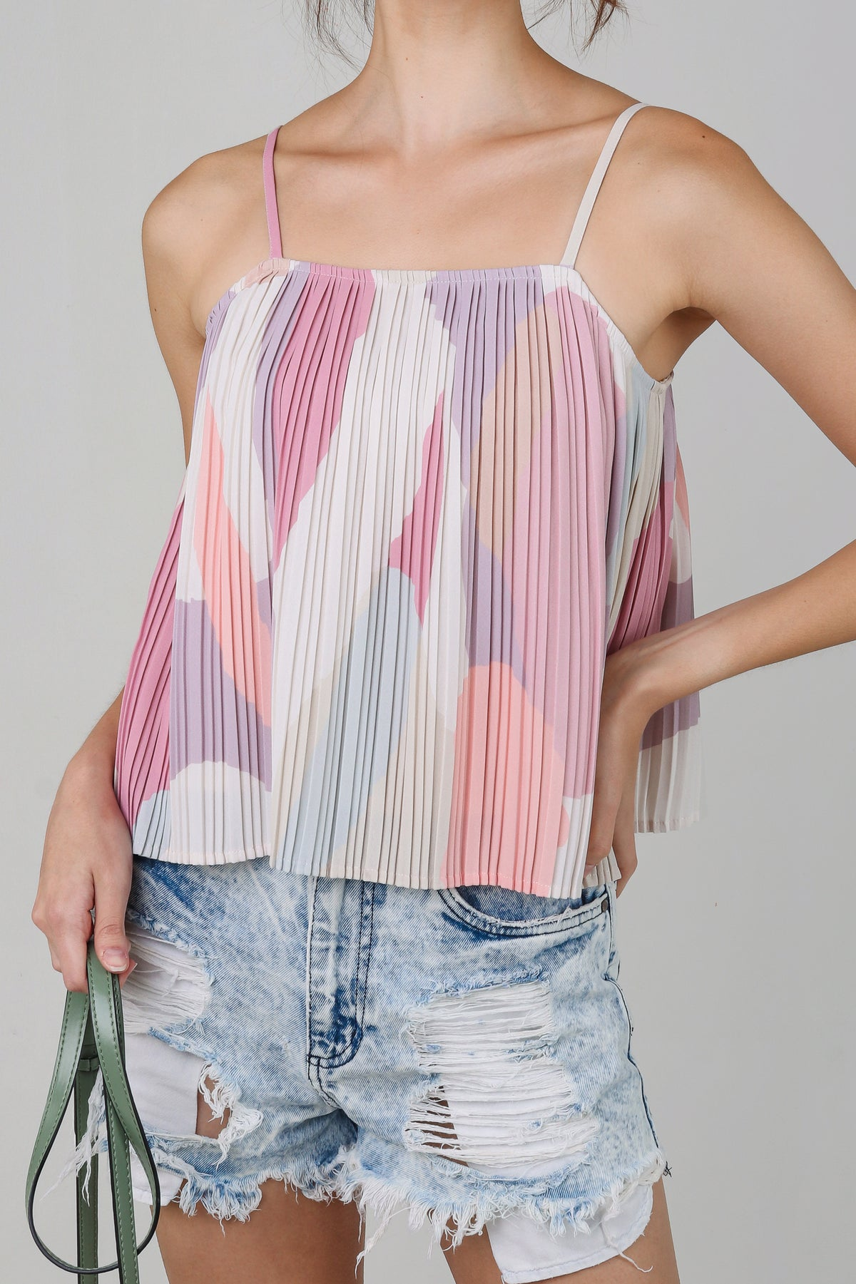 Backorder* Lucia Abstract Pleated Top in Pink Grey