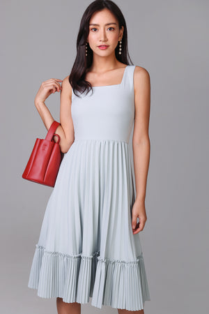 Accordian Pleat Dress in Baby Blue