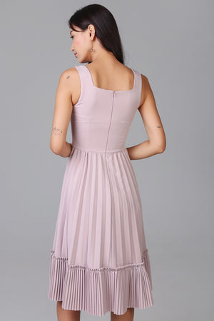 Accordian Pleat Dress in Pink