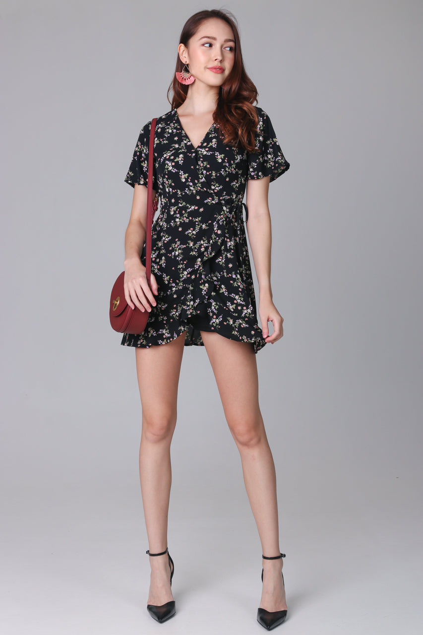 Althea Playsuit Dress in Black Flowers