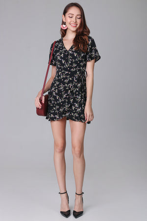 Restocked* Althea Playsuit Dress in Black Flowers