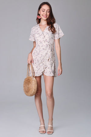 Althea Playsuit Dress in Cream Flowers