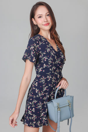 Althea Playsuit Dress in Navy Flowers