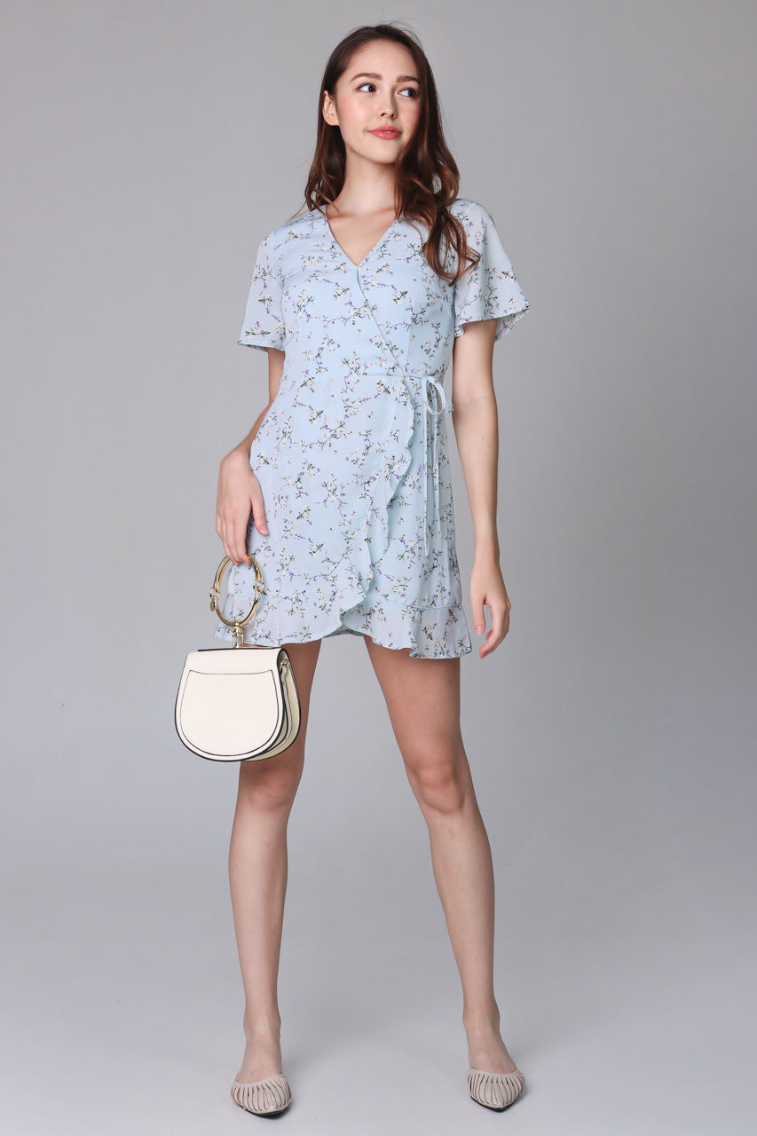 Althea Playsuit Dress in Sky Flowers