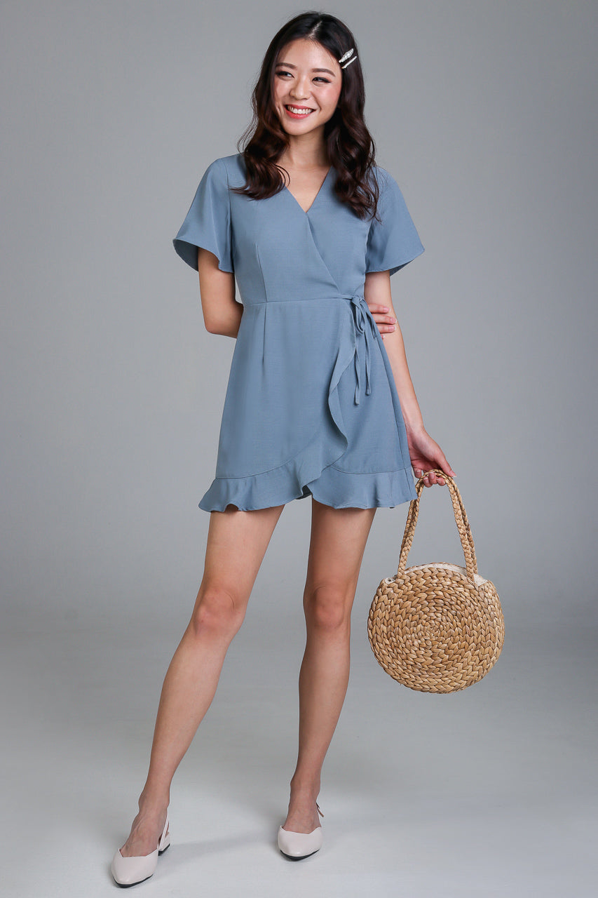 NEW* Althea Playsuit Dress in Ash Blue