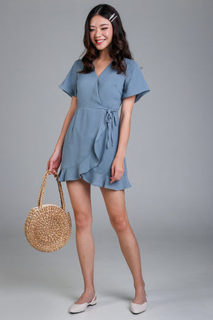 Althea Playsuit Dress in Ash Blue