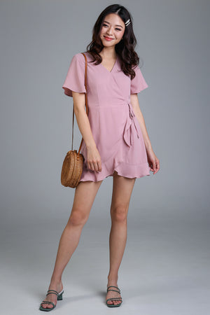Althea Playsuit Dress in Dusty Pink