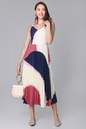 Altitudes Graphic Pleated Dress in Navy Rose