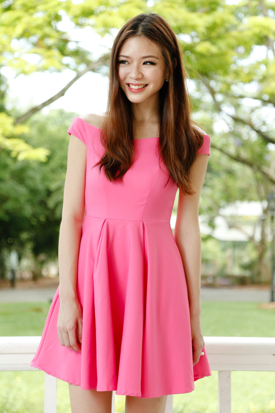 Arianna Off-Shoulder Dress in Fuchsia